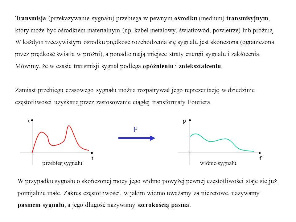 Transmisja (przekazywanie sygnału) przebiega w pewnym ośrodku (medium) transmisyjnym, który może być ośrodkiem materialnym (np. kabel metalowy, światł