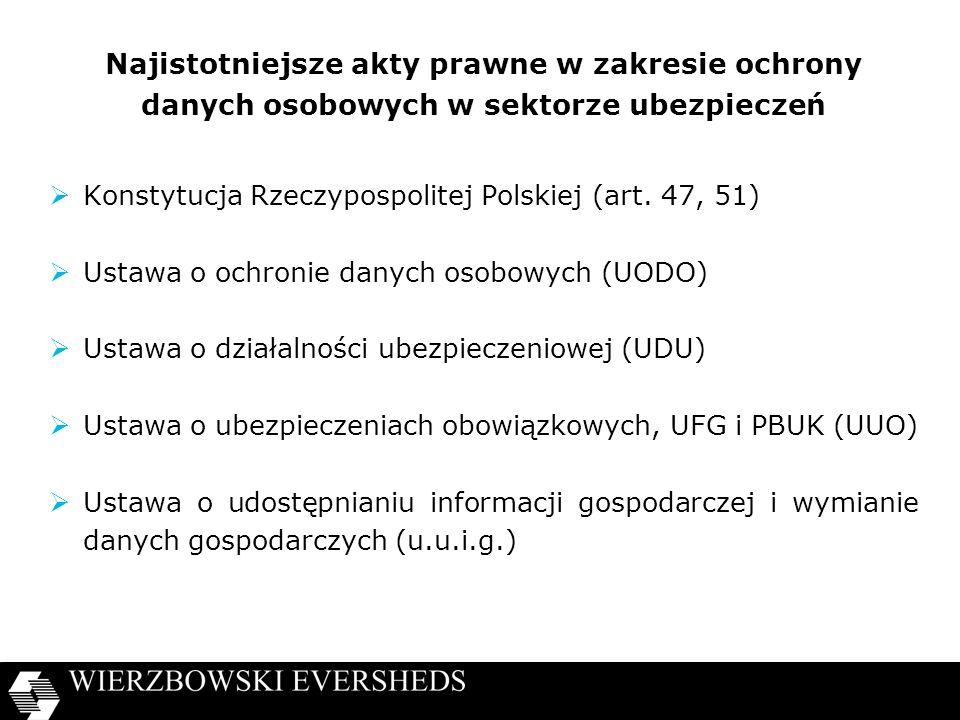 Najistotniejsze akty prawne w zakresie ochrony danych osobowych w sektorze ubezpieczeń Konstytucja Rzeczypospolitej Polskiej (art. 47, 51) Ustawa o oc
