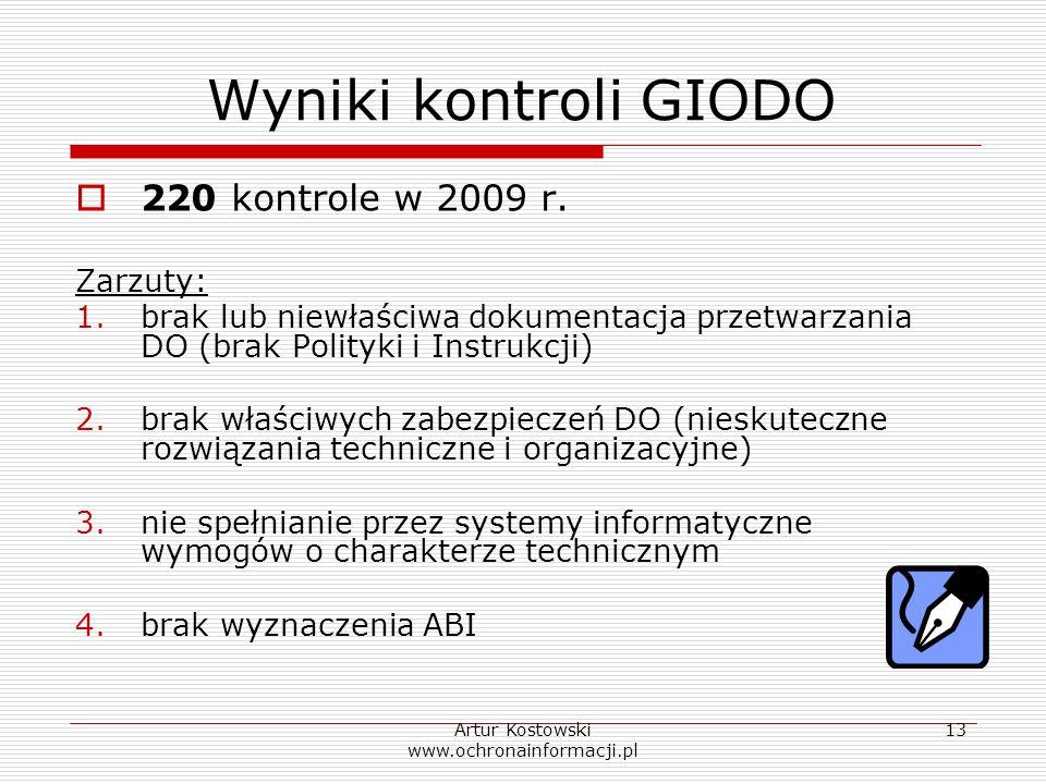 Artur Kostowski www.ochronainformacji.pl 13 Wyniki kontroli GIODO 220 kontrole w 2009 r. Zarzuty: 1.brak lub niewłaściwa dokumentacja przetwarzania DO