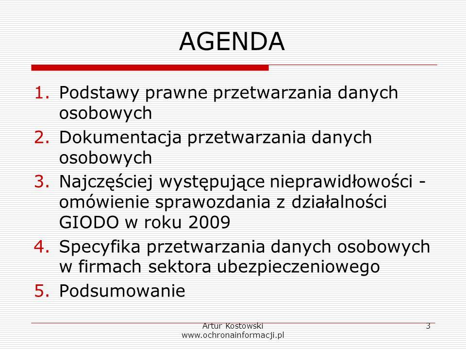Artur Kostowski www.ochronainformacji.pl 3 AGENDA 1.Podstawy prawne przetwarzania danych osobowych 2.Dokumentacja przetwarzania danych osobowych 3.Naj