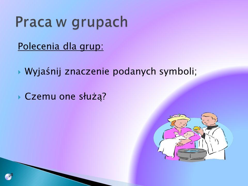 Polecenia dla grup: Wyjaśnij znaczenie podanych symboli; Czemu one służą?