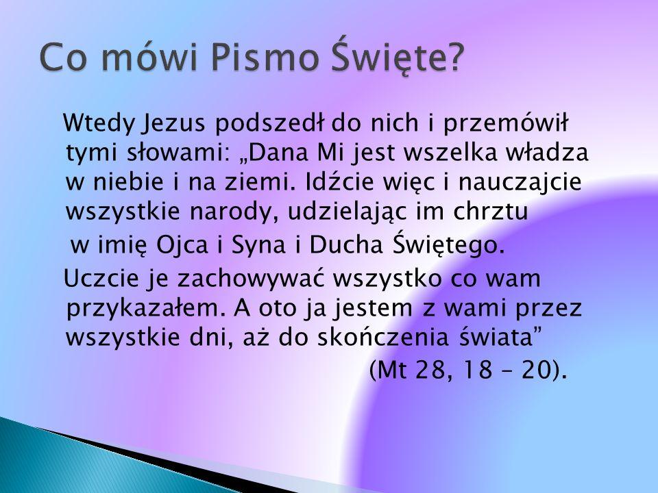 Wtedy Jezus podszedł do nich i przemówił tymi słowami: Dana Mi jest wszelka władza w niebie i na ziemi. Idźcie więc i nauczajcie wszystkie narody, udz