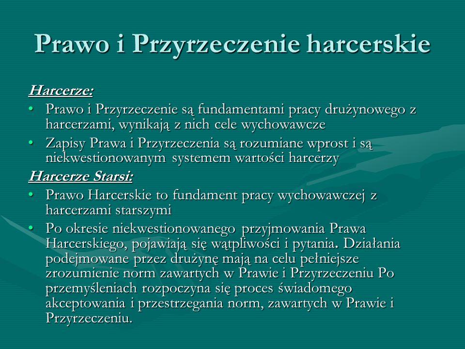 Prawo i Przyrzeczenie harcerskie Przyrzeczenie Harcerskie: Mam szczerą wolę całym życiem pełnić służbę Bogu i Polsce, nieść chętną pomoc bliźnim i być posłuszną/posłusznym Prawu Harcerskiemu.