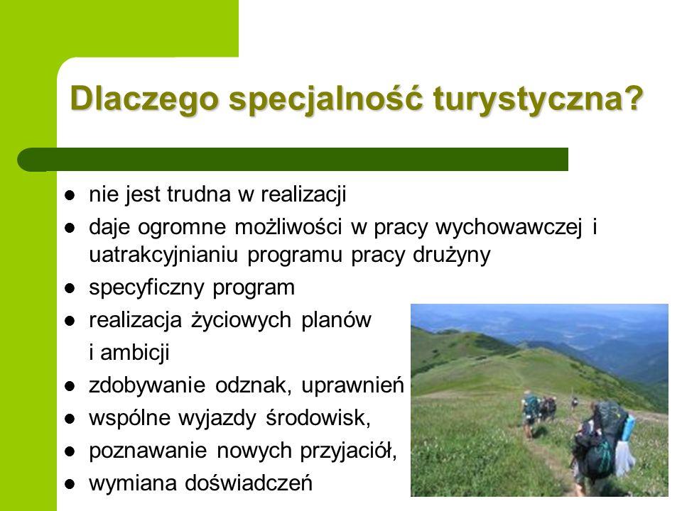 Dlaczego specjalność turystyczna? nie jest trudna w realizacji daje ogromne możliwości w pracy wychowawczej i uatrakcyjnianiu programu pracy drużyny s