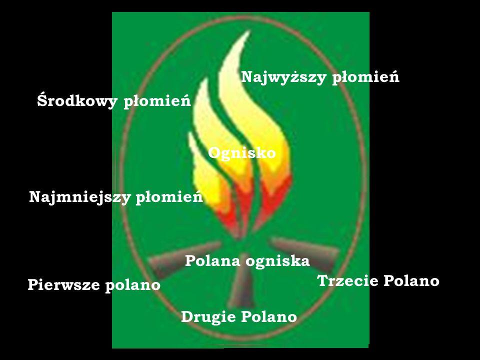 Pierwsze polano Drugie Polano Trzecie Polano Najmniejszy płomień Środkowy płomień Najwyższy płomień Ognisko Polana ogniska
