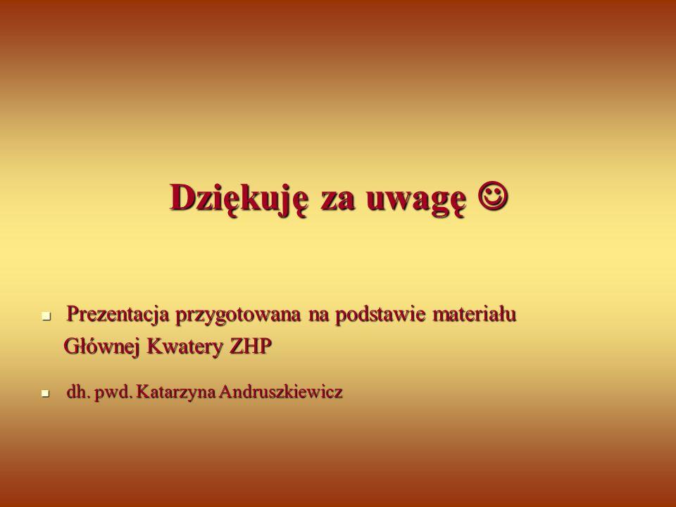 Dziękuję za uwagę Prezentacja przygotowana na podstawie materiału Głównej Kwatery ZHP dh. pwd. Katarzyna Andruszkiewicz