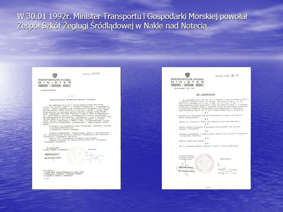 W 30.01 1992r. Minister Transportu i Gospodarki Morskiej powołał Zespół Szkół Żeglugi Śródlądowej w Nakle nad Notecią.