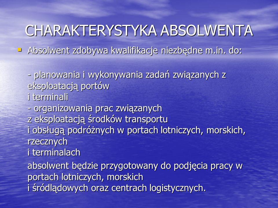 CHARAKTERYSTYKA ABSOLWENTA Absolwent zdobywa kwalifikacje niezbędne m.in. do: Absolwent zdobywa kwalifikacje niezbędne m.in. do: - planowania i wykony