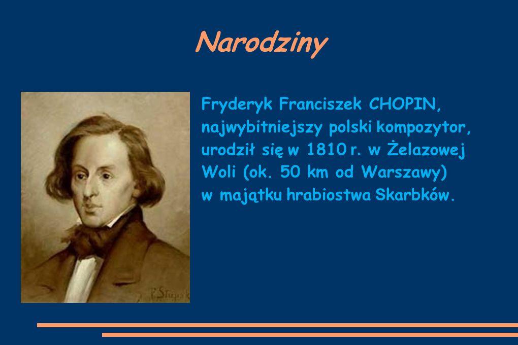 Narodziny Fryderyk Franciszek CHOPIN, najwybitniejszy polski k ompozytor, urodził się w 1810 r. w Żelazowej Woli (ok. 50 km od Warszawy) w majątku hra
