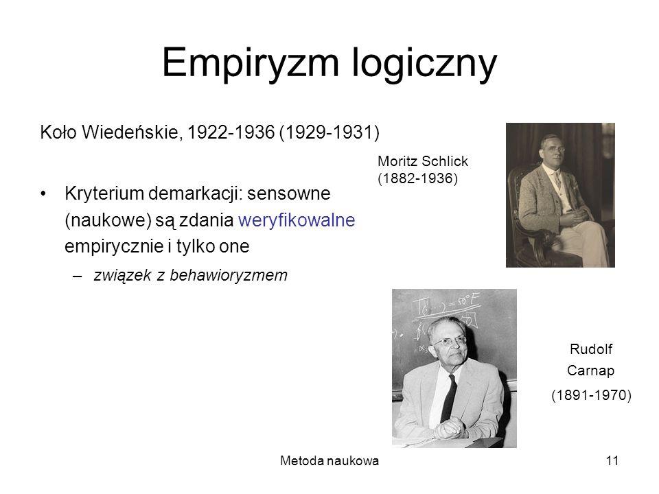 Metoda naukowa11 Empiryzm logiczny Koło Wiedeńskie, 1922-1936 (1929-1931) Kryterium demarkacji: sensowne (naukowe) są zdania weryfikowalne empirycznie