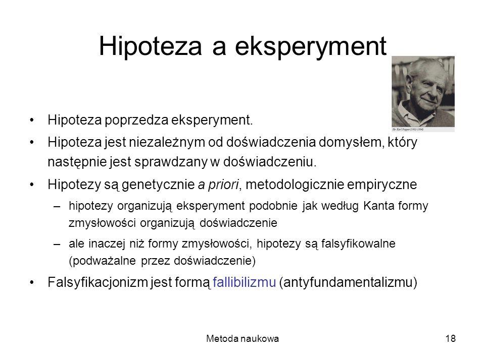 Metoda naukowa18 Hipoteza a eksperyment Hipoteza poprzedza eksperyment. Hipoteza jest niezależnym od doświadczenia domysłem, który następnie jest spra