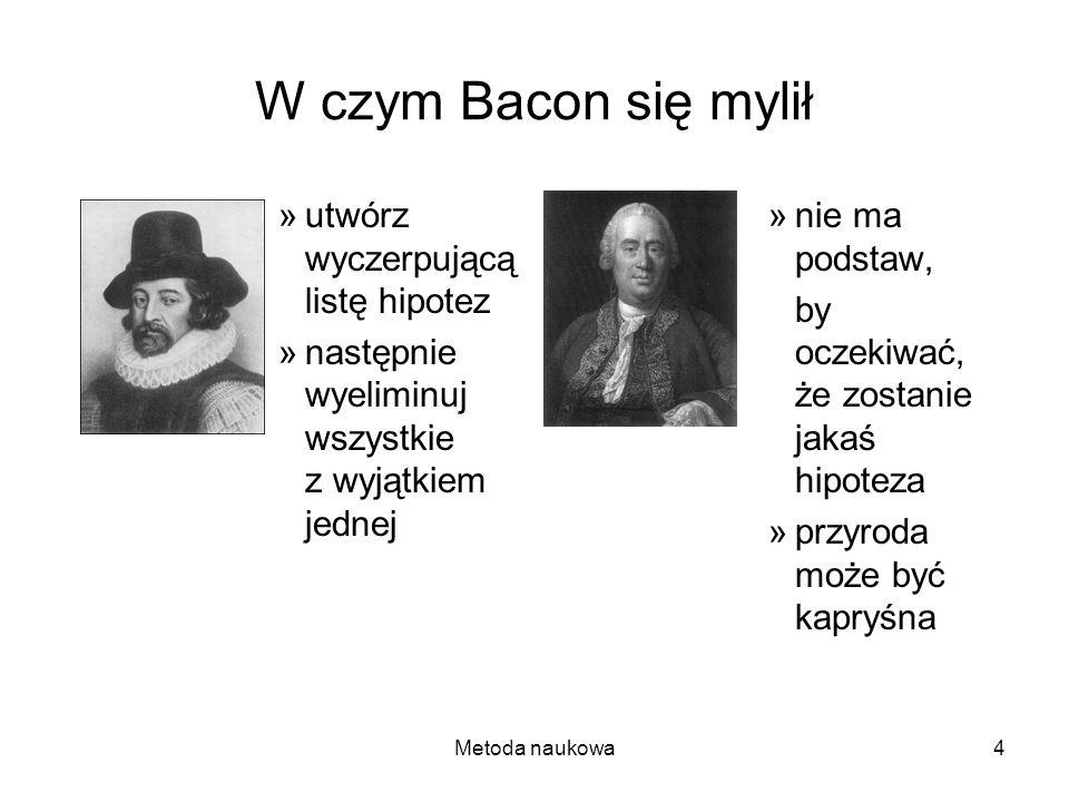 Metoda naukowa4 W czym Bacon się mylił »utwórz wyczerpującą listę hipotez »następnie wyeliminuj wszystkie z wyjątkiem jednej »nie ma podstaw, by oczek