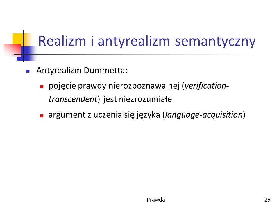 Prawda25 Realizm i antyrealizm semantyczny Antyrealizm Dummetta: pojęcie prawdy nierozpoznawalnej (verification- transcendent) jest niezrozumiałe argument z uczenia się języka (language-acquisition)