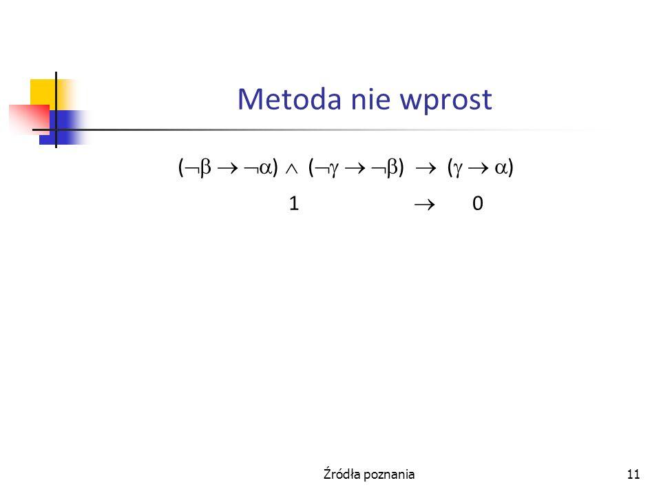 Źródła poznania11 Metoda nie wprost ( ) ( ) ( ) 1 0