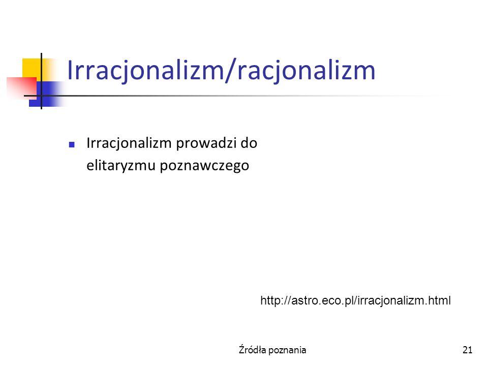 Źródła poznania21 Irracjonalizm/racjonalizm Irracjonalizm prowadzi do elitaryzmu poznawczego http://astro.eco.pl/irracjonalizm.html
