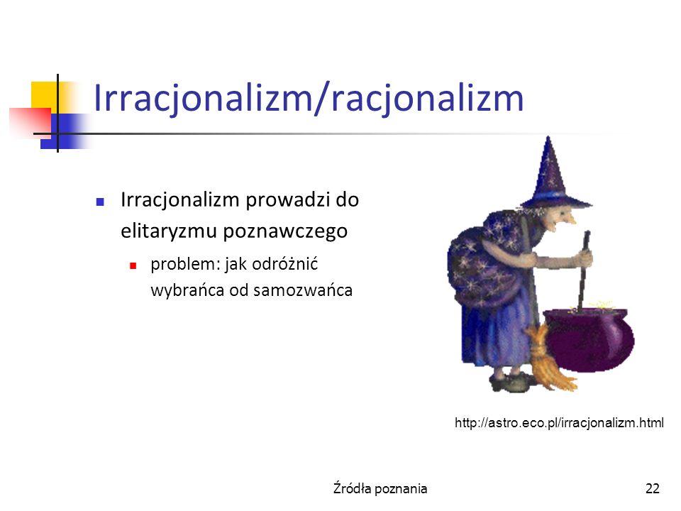 Źródła poznania22 Irracjonalizm/racjonalizm Irracjonalizm prowadzi do elitaryzmu poznawczego problem: jak odróżnić wybrańca od samozwańca http://astro