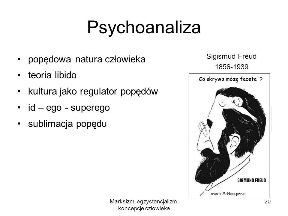 Marksizm, egzystencjalizm, koncepcje człowieka 20 Psychoanaliza popędowa natura człowieka teoria libido kultura jako regulator popędów id – ego - supe