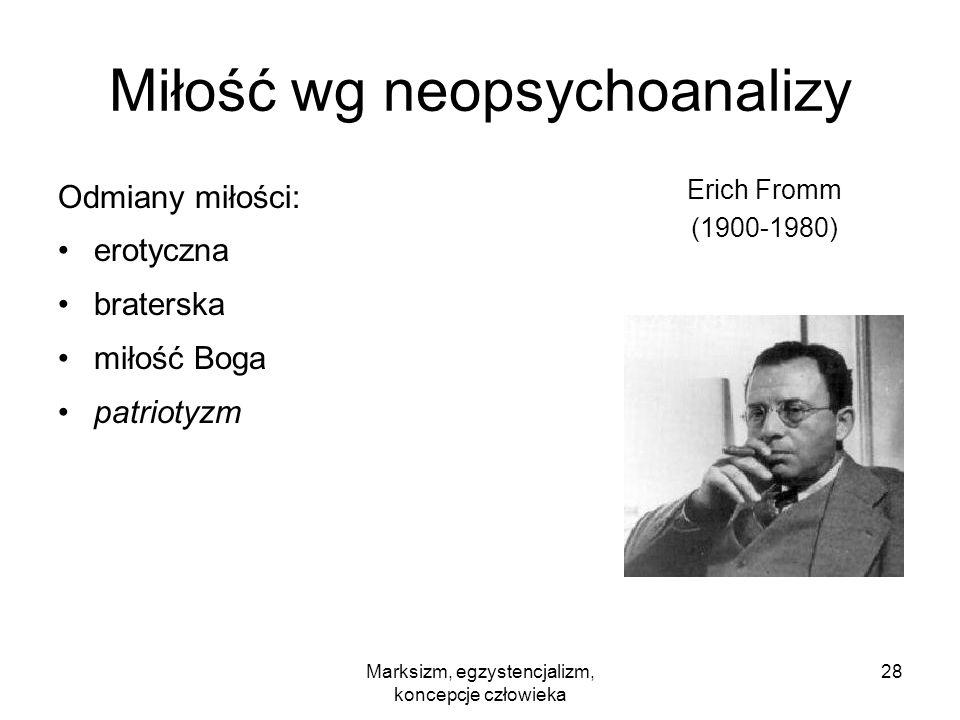 Marksizm, egzystencjalizm, koncepcje człowieka 28 Miłość wg neopsychoanalizy Odmiany miłości: erotyczna braterska miłość Boga patriotyzm Erich Fromm (