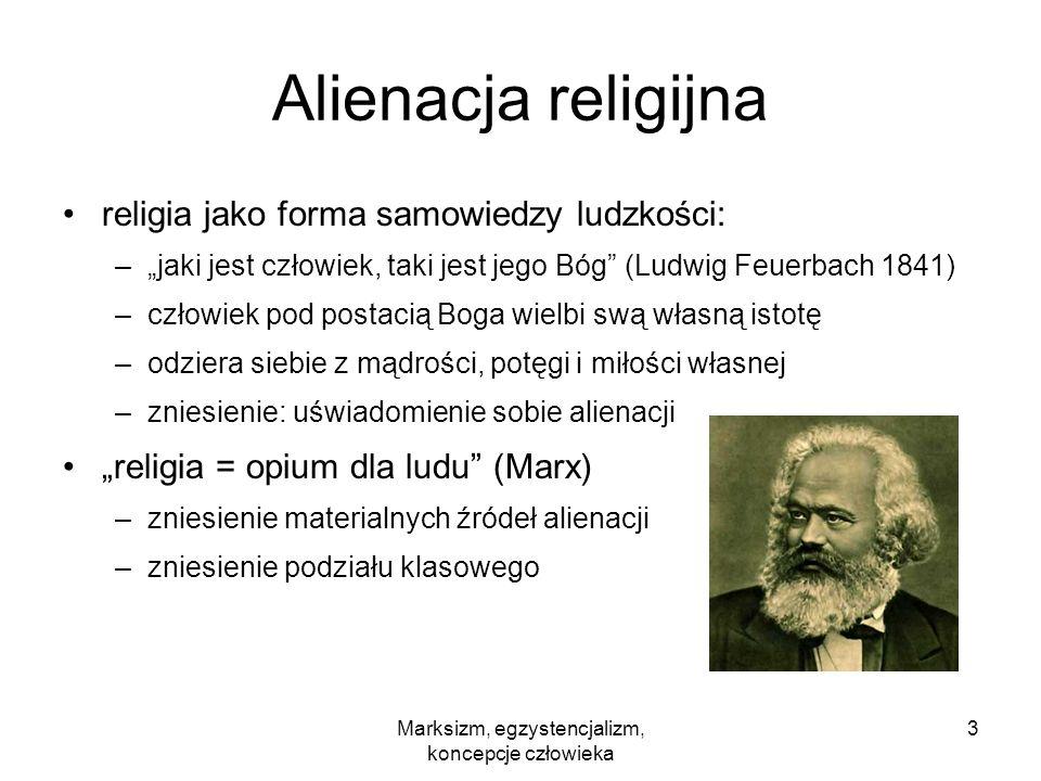 Marksizm, egzystencjalizm, koncepcje człowieka 3 Alienacja religijna religia jako forma samowiedzy ludzkości: –jaki jest człowiek, taki jest jego Bóg