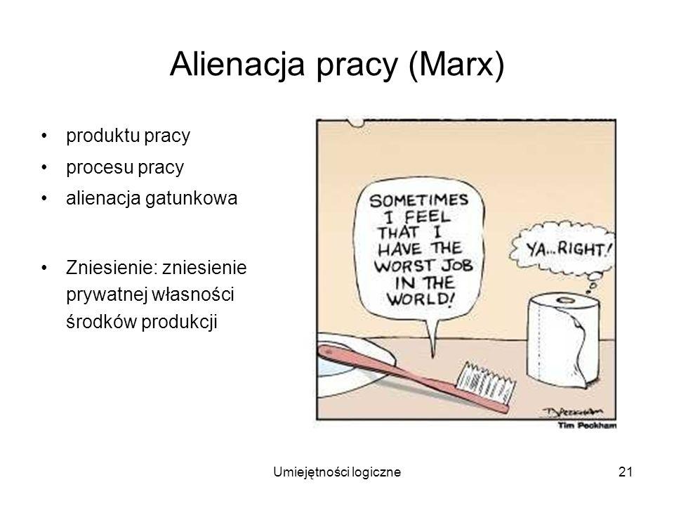 Umiejętności logiczne21 Alienacja pracy (Marx) produktu pracy procesu pracy alienacja gatunkowa Zniesienie: zniesienie prywatnej własności środków pro
