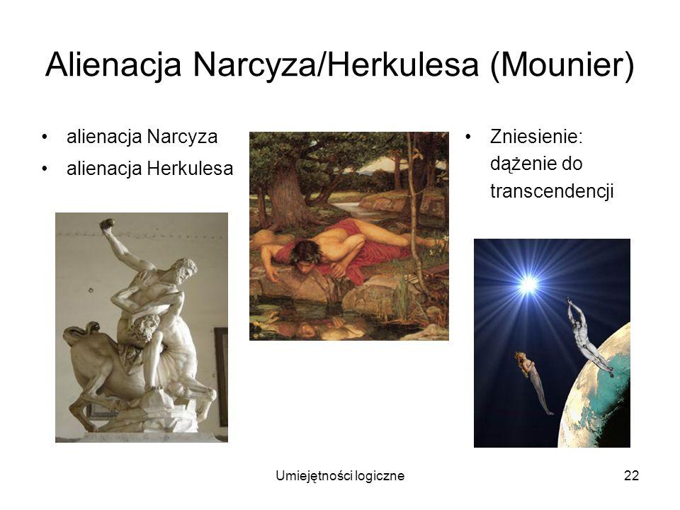 Umiejętności logiczne22 Alienacja Narcyza/Herkulesa (Mounier) alienacja Narcyza alienacja Herkulesa Zniesienie: dążenie do transcendencji
