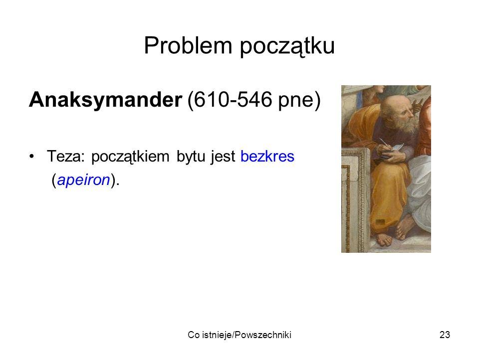 Co istnieje/Powszechniki23 Problem początku Anaksymander (610-546 pne) Teza: początkiem bytu jest bezkres (apeiron).