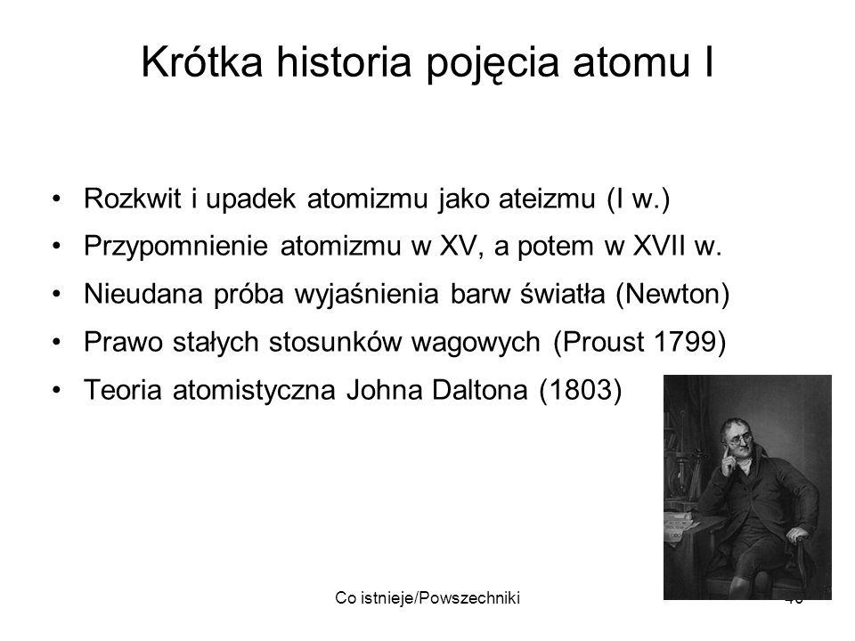 Co istnieje/Powszechniki40 Krótka historia pojęcia atomu I Rozkwit i upadek atomizmu jako ateizmu (I w.) Przypomnienie atomizmu w XV, a potem w XVII w