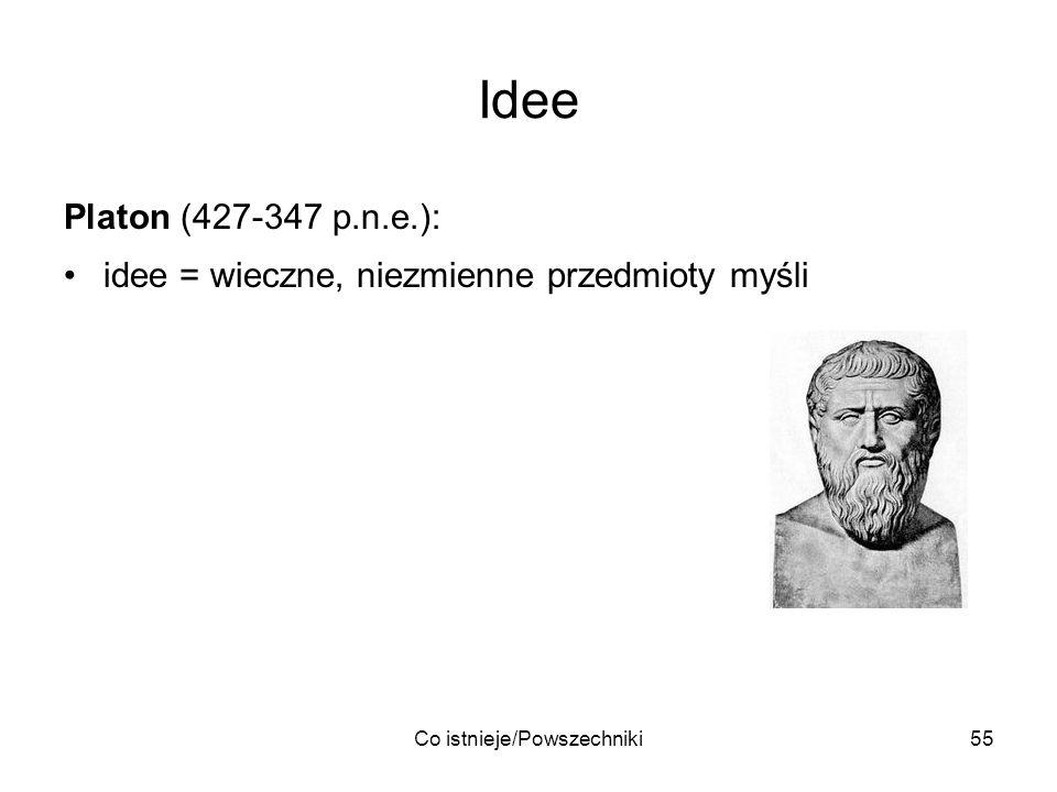 Co istnieje/Powszechniki55 Idee Platon (427-347 p.n.e.): idee = wieczne, niezmienne przedmioty myśli