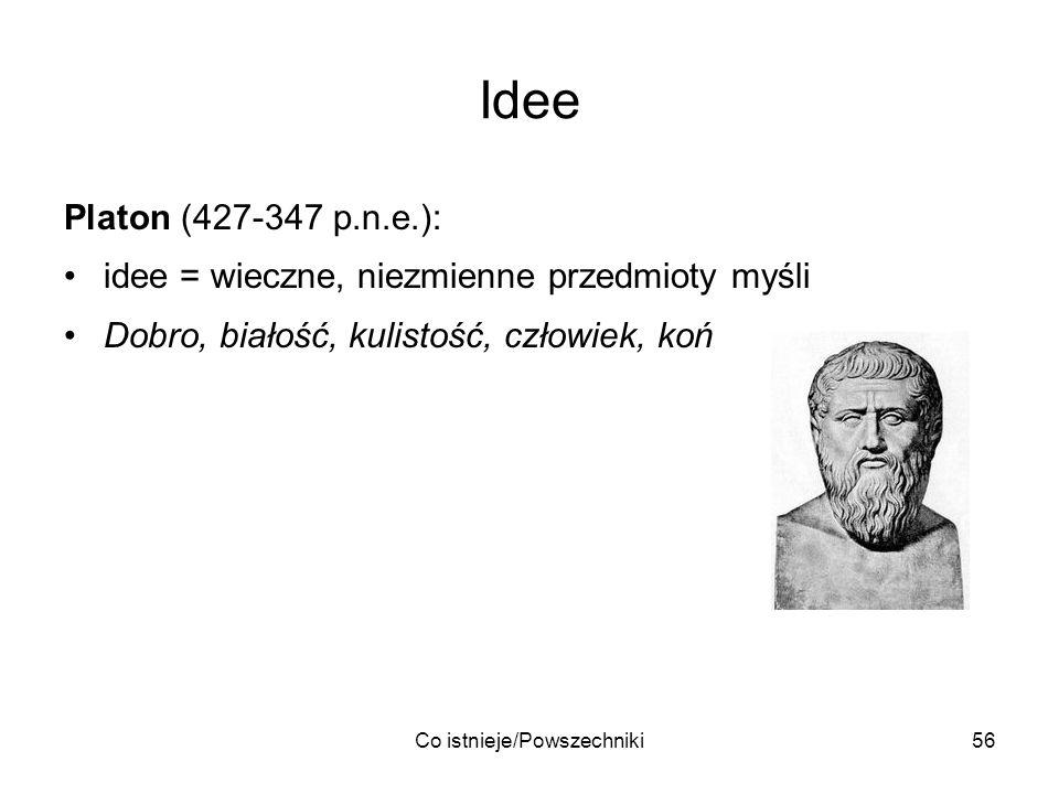 Co istnieje/Powszechniki56 Idee Platon (427-347 p.n.e.): idee = wieczne, niezmienne przedmioty myśli Dobro, białość, kulistość, człowiek, koń