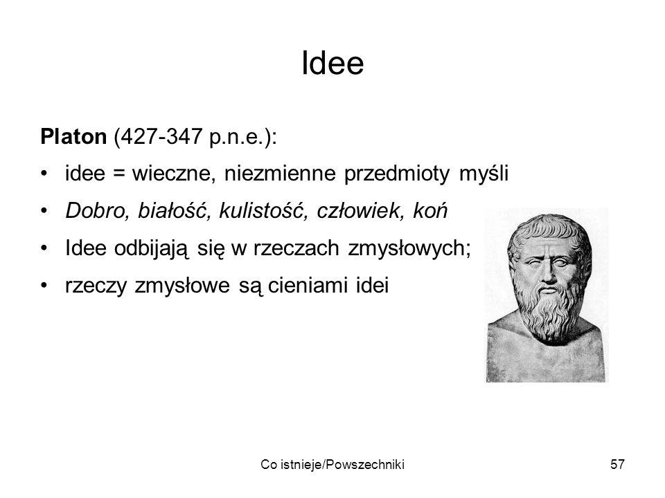 Co istnieje/Powszechniki57 Idee Platon (427-347 p.n.e.): idee = wieczne, niezmienne przedmioty myśli Dobro, białość, kulistość, człowiek, koń Idee odb