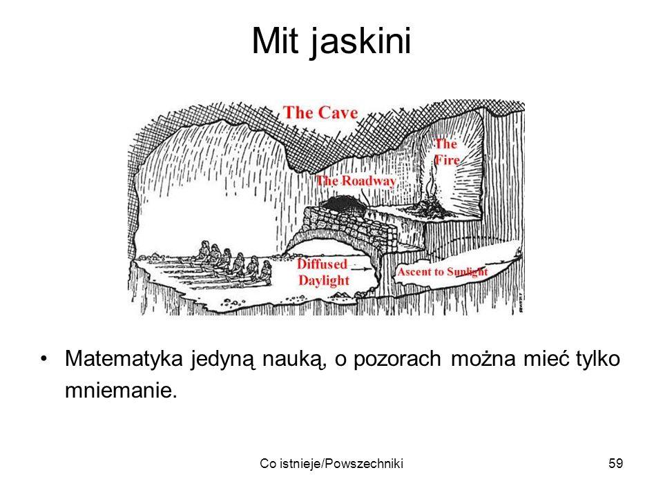 Co istnieje/Powszechniki59 Mit jaskini Matematyka jedyną nauką, o pozorach można mieć tylko mniemanie.