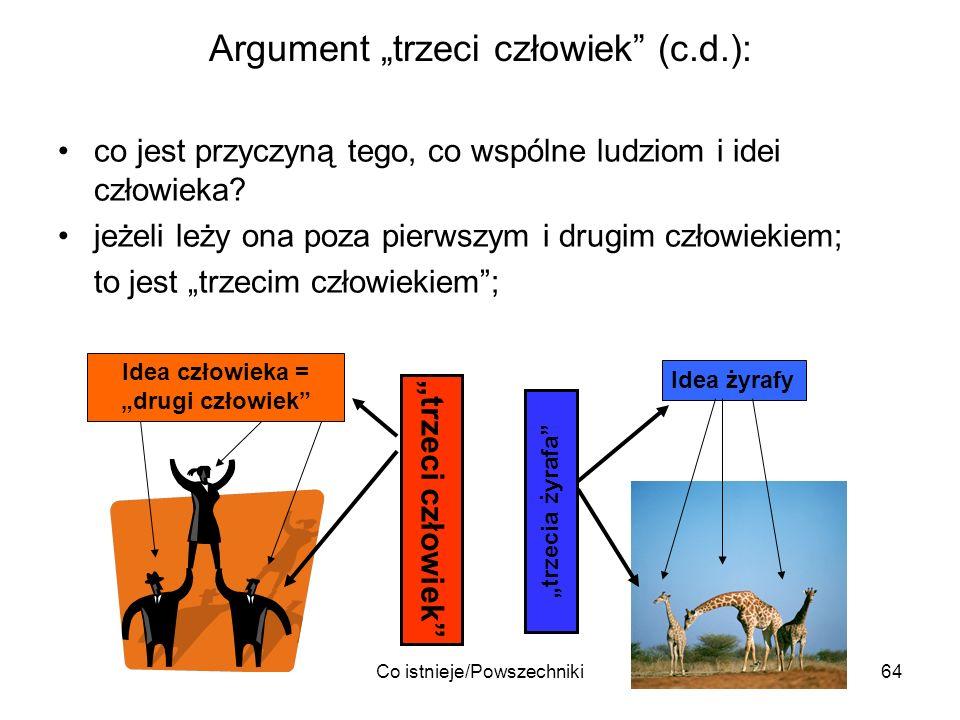 Co istnieje/Powszechniki64 Argument trzeci człowiek (c.d.): co jest przyczyną tego, co wspólne ludziom i idei człowieka? jeżeli leży ona poza pierwszy