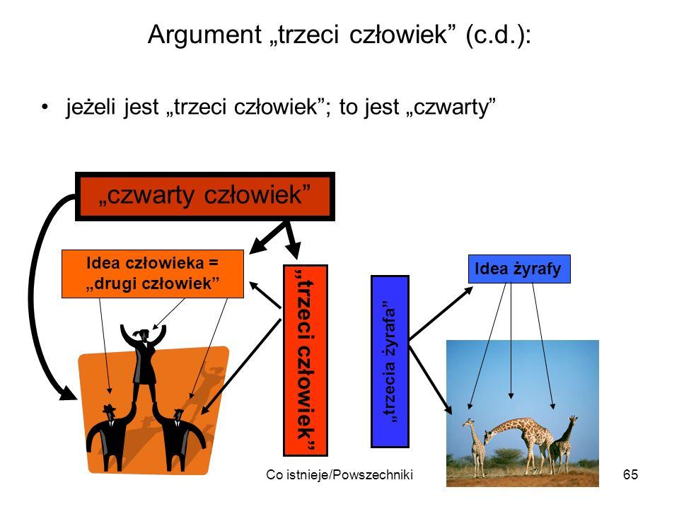 Co istnieje/Powszechniki65 Argument trzeci człowiek (c.d.): jeżeli jest trzeci człowiek; to jest czwarty Idea człowieka = drugi człowiek Idea żyrafy t