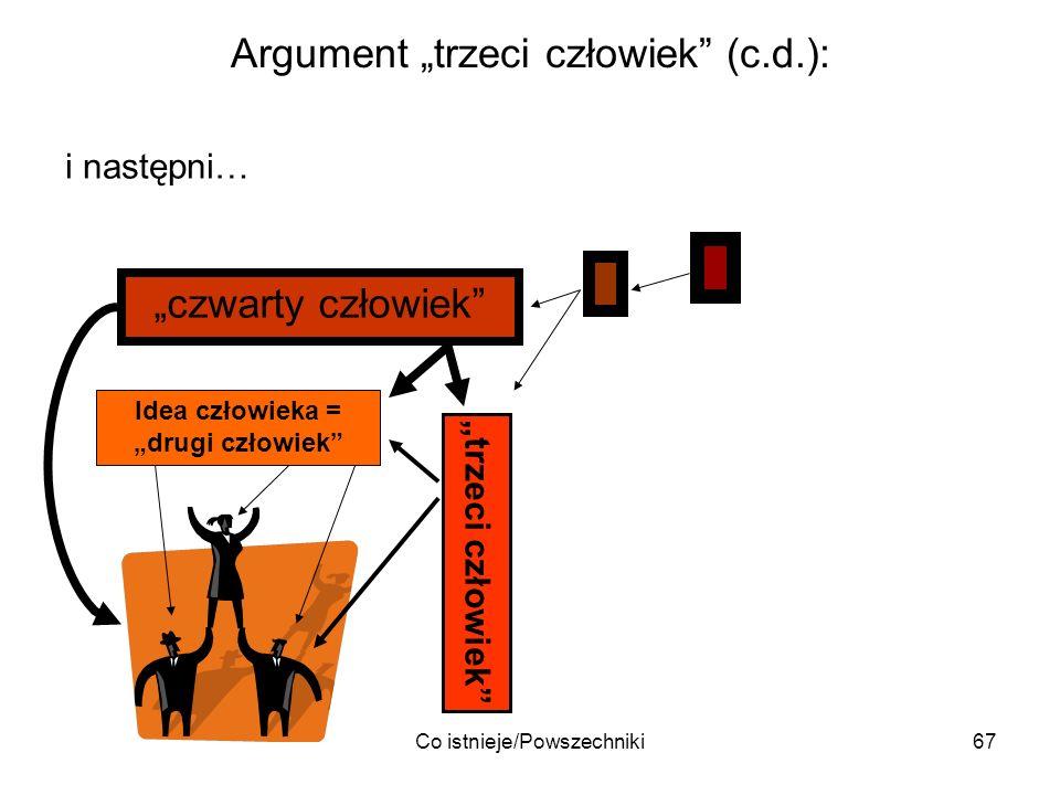 Co istnieje/Powszechniki67 Argument trzeci człowiek (c.d.): i następni… Idea człowieka = drugi człowiek trzeci człowiek czwarty człowiek