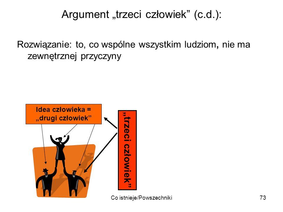Co istnieje/Powszechniki73 Argument trzeci człowiek (c.d.): Rozwiązanie: to, co wspólne wszystkim ludziom, nie ma zewnętrznej przyczyny Idea człowieka
