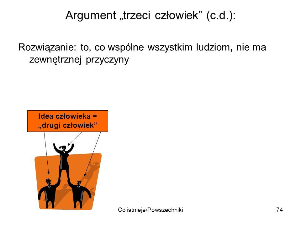 Co istnieje/Powszechniki74 Argument trzeci człowiek (c.d.): Rozwiązanie: to, co wspólne wszystkim ludziom, nie ma zewnętrznej przyczyny Idea człowieka