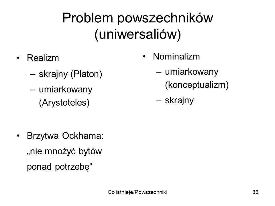 Co istnieje/Powszechniki88 Problem powszechników (uniwersaliów) Realizm –skrajny (Platon) –umiarkowany (Arystoteles) Brzytwa Ockhama: nie mnożyć bytów