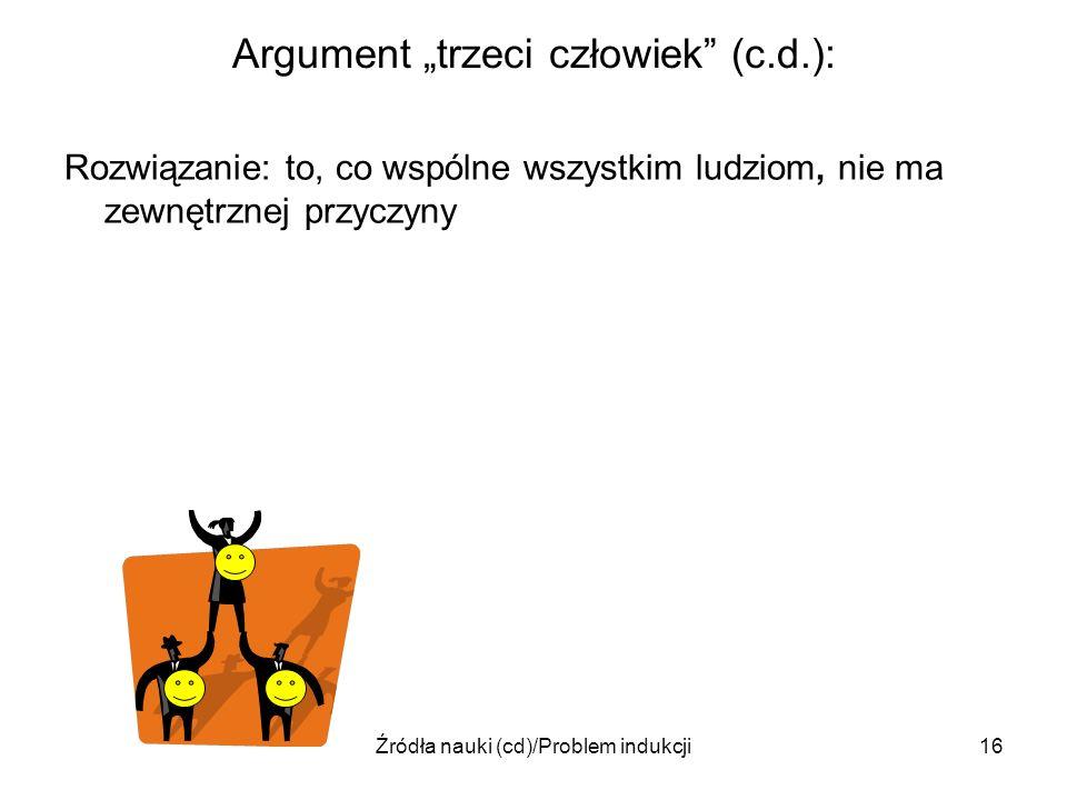 Źródła nauki (cd)/Problem indukcji16 Argument trzeci człowiek (c.d.): Rozwiązanie: to, co wspólne wszystkim ludziom, nie ma zewnętrznej przyczyny