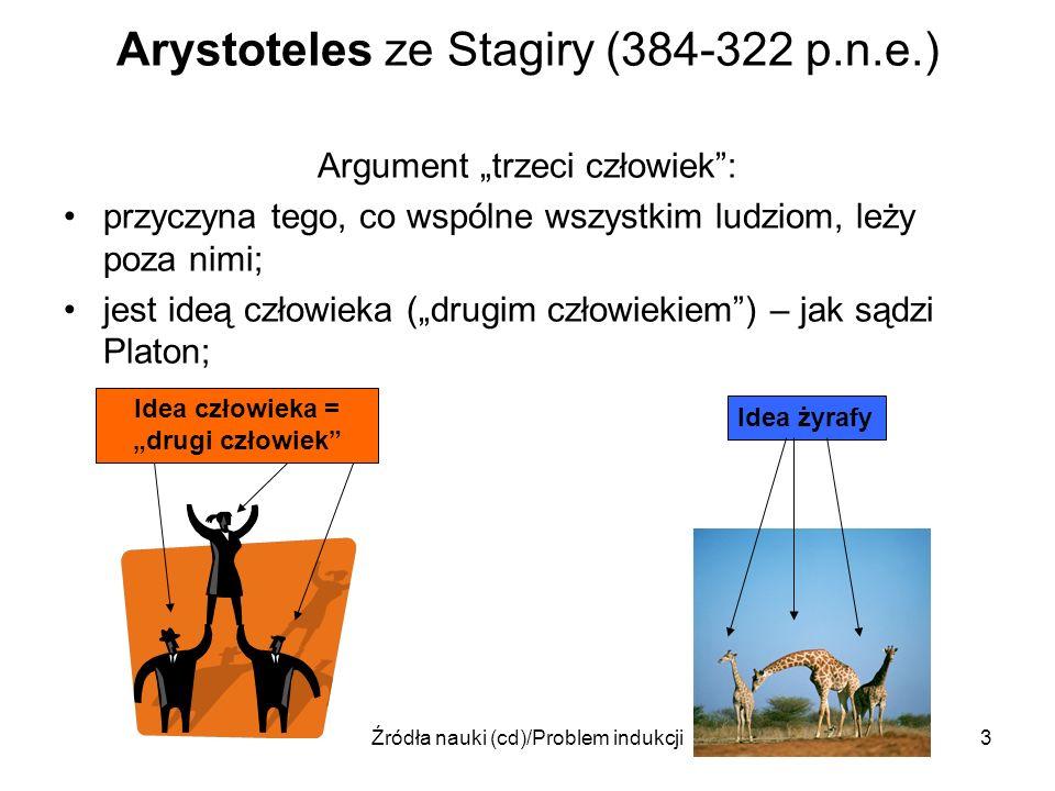 Źródła nauki (cd)/Problem indukcji3 Arystoteles ze Stagiry (384-322 p.n.e.) Argument trzeci człowiek: przyczyna tego, co wspólne wszystkim ludziom, le