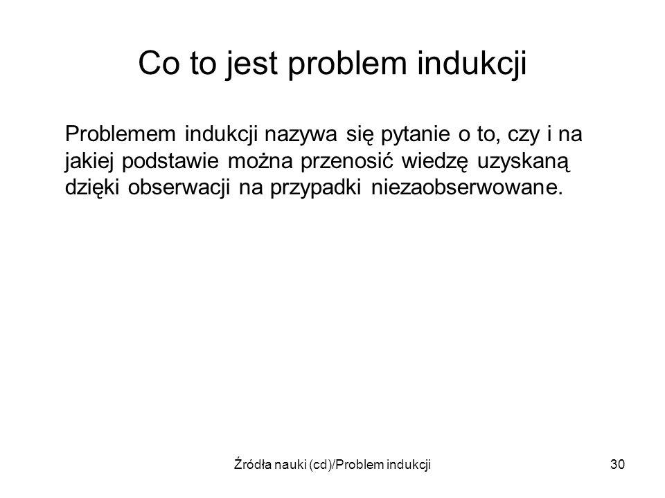 Źródła nauki (cd)/Problem indukcji30 Co to jest problem indukcji Problemem indukcji nazywa się pytanie o to, czy i na jakiej podstawie można przenosić