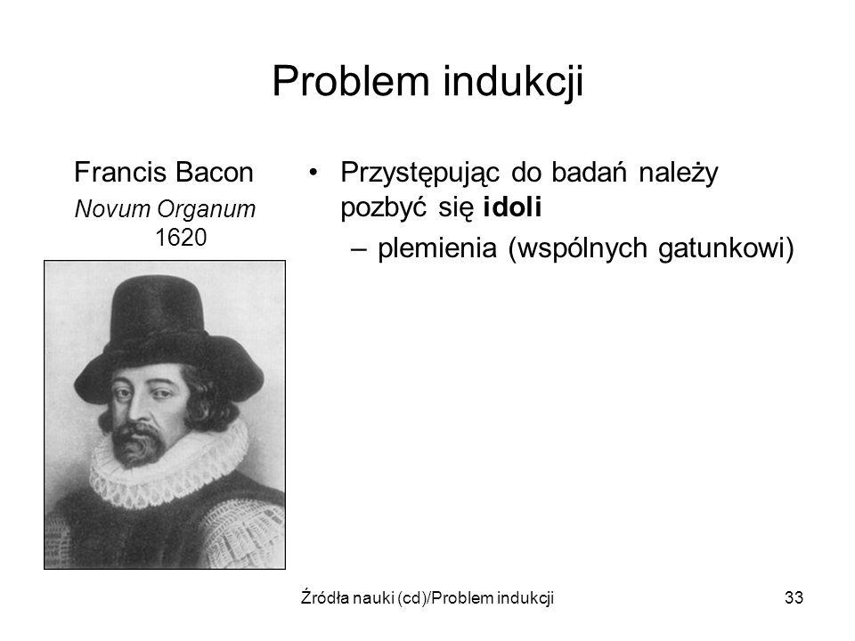 Źródła nauki (cd)/Problem indukcji33 Problem indukcji Francis Bacon Novum Organum 1620 Przystępując do badań należy pozbyć się idoli –plemienia (wspól