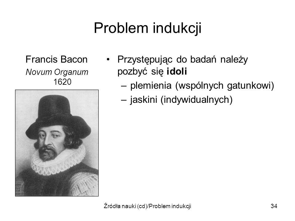 Źródła nauki (cd)/Problem indukcji34 Problem indukcji Francis Bacon Novum Organum 1620 Przystępując do badań należy pozbyć się idoli –plemienia (wspól