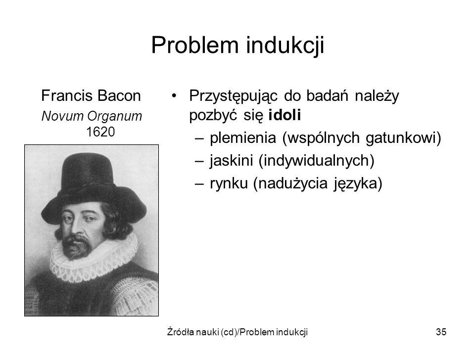 Źródła nauki (cd)/Problem indukcji35 Problem indukcji Francis Bacon Novum Organum 1620 Przystępując do badań należy pozbyć się idoli –plemienia (wspól