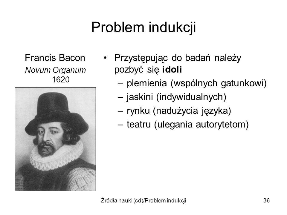 Źródła nauki (cd)/Problem indukcji36 Problem indukcji Francis Bacon Novum Organum 1620 Przystępując do badań należy pozbyć się idoli –plemienia (wspól