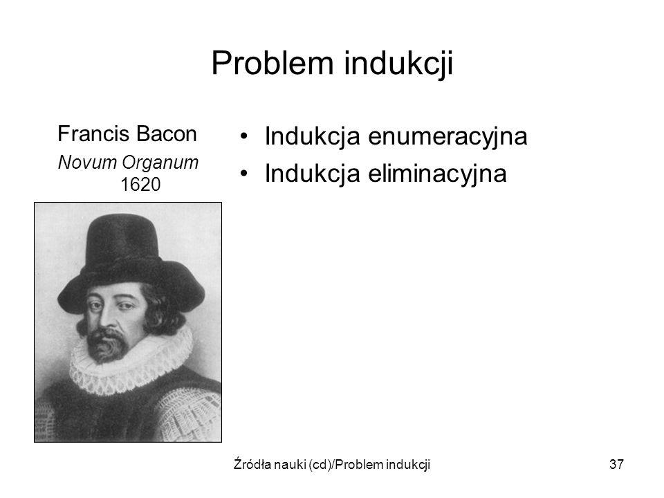 Źródła nauki (cd)/Problem indukcji37 Problem indukcji Francis Bacon Novum Organum 1620 Indukcja enumeracyjna Indukcja eliminacyjna