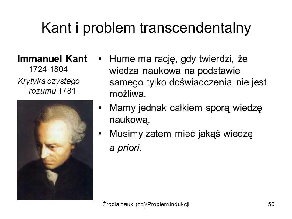 Źródła nauki (cd)/Problem indukcji50 Kant i problem transcendentalny Immanuel Kant 1724-1804 Krytyka czystego rozumu 1781 Hume ma rację, gdy twierdzi,