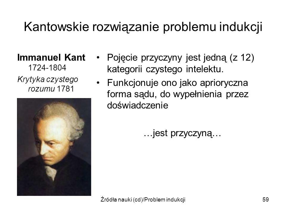 Źródła nauki (cd)/Problem indukcji59 Kantowskie rozwiązanie problemu indukcji Immanuel Kant 1724-1804 Krytyka czystego rozumu 1781 Pojęcie przyczyny j
