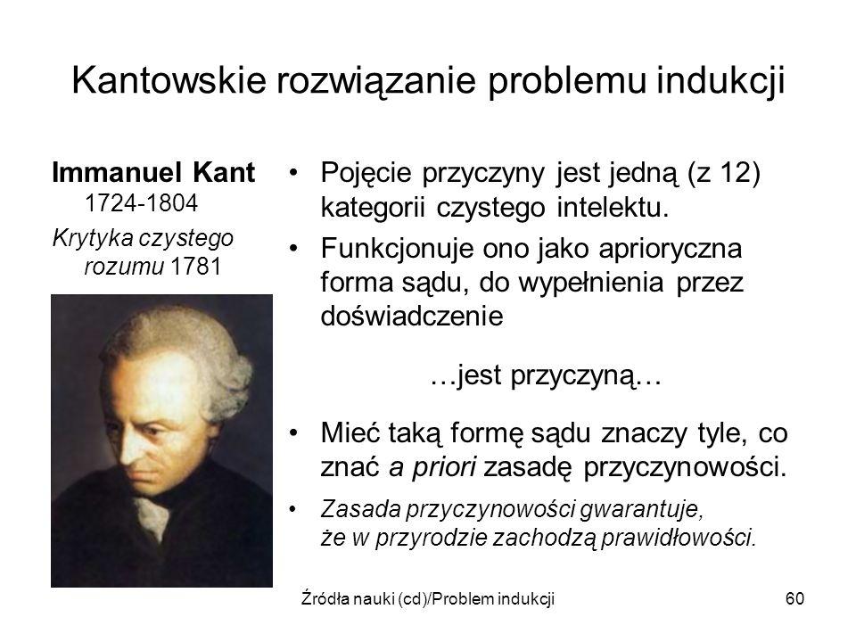 Źródła nauki (cd)/Problem indukcji60 Kantowskie rozwiązanie problemu indukcji Immanuel Kant 1724-1804 Krytyka czystego rozumu 1781 Pojęcie przyczyny j