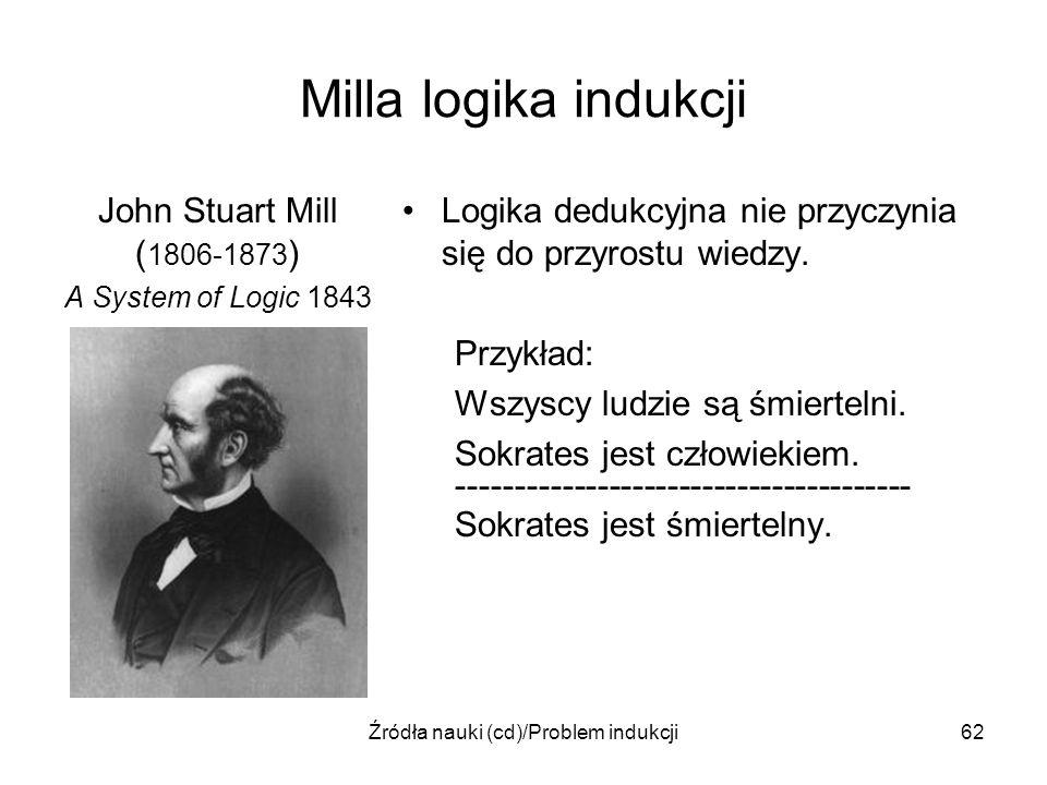 Źródła nauki (cd)/Problem indukcji62 Milla logika indukcji John Stuart Mill ( 1806-1873 ) A System of Logic 1843 Logika dedukcyjna nie przyczynia się