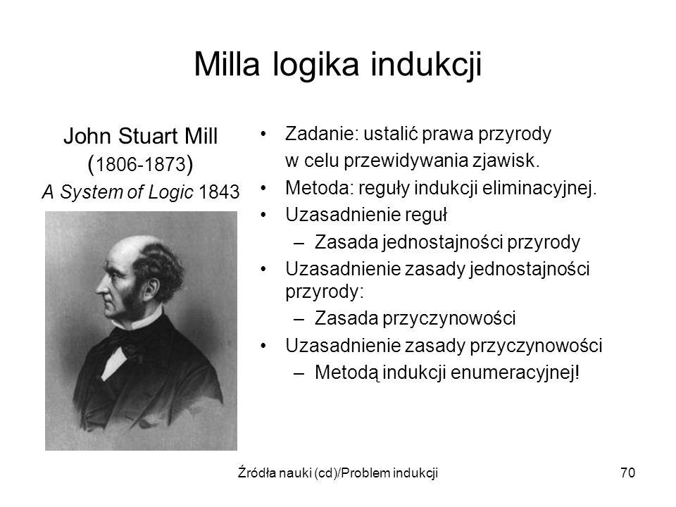 Źródła nauki (cd)/Problem indukcji70 Milla logika indukcji John Stuart Mill ( 1806-1873 ) A System of Logic 1843 Zadanie: ustalić prawa przyrody w cel